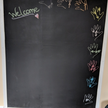 Wall size chalk board for tracing our whole bodies!